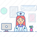 doctor assistant, female attendant, lady nurse, medical assistant, nurse icon
