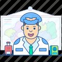 aircrew, airman, aviator, captain, pilot icon