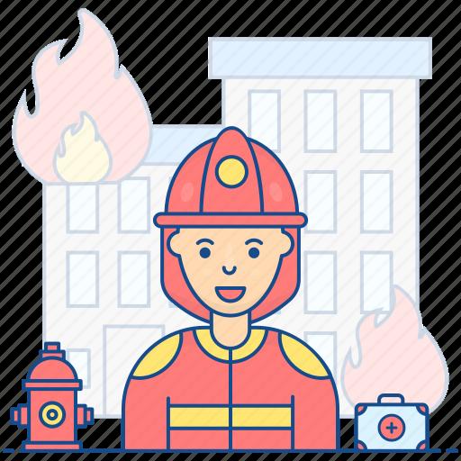 female firefighter, firewoman, lady firwarden, professional woman, smoke jumper icon