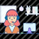 consultant, female operator, professional person, telephone operator, telephonist icon
