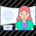 female anchor, journalist, news anchor, news reader, newscaster icon