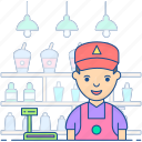 hawker, salesman, salesperson, seller, shopkeeper icon