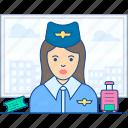 air hostess, aircrew, cabin attendant, cabin crew, flight attendant icon