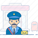 letter carrier; professional person, mail carrier, mailman, postman icon