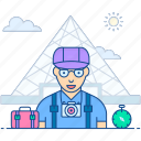 adventurer, tourist, traveller, tripper, visitor icon