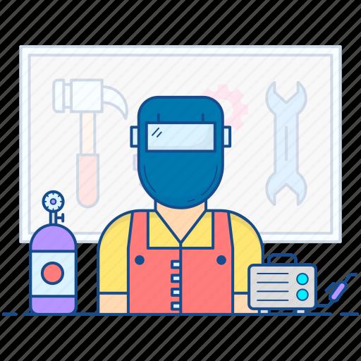 blacksmith, ironsmith, mechanic, metalworker, welder icon
