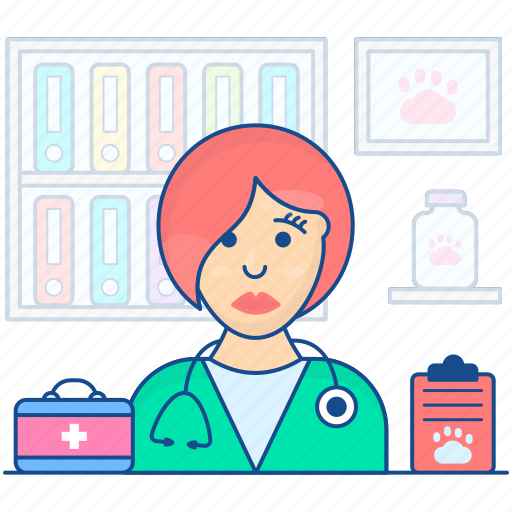 doctor, lady doctor, medical specialist, physician, veterinarian icon