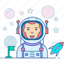 astronaut, cosmonaut, moonwalker, space explorer, spaceman icon