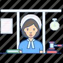 adjudicator, attorney, judge, judiciary, jury woman icon