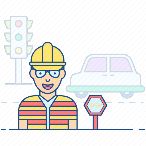 pointsman, police officer, policeman, traffic controller, traffic officer icon