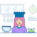 cuisinier, female chef, female cook, food preparer, professional cook icon