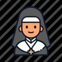 avatar, nun, occupation, profession icon