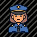 avatar, occupation, police, policewoman, profession, uniform icon