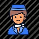 avatar, occupation, profession, stewardess, uniform icon
