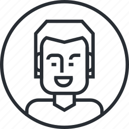 avatar, character, line, man, people, portrait, profile icon
