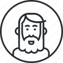 avatar, character, line, old man, people, portrait, profile icon
