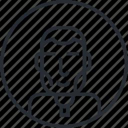 avatar, character, line, man, people, portrait, profile icon
