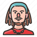 avatar, dreadlock, face, male, man, musician, rapper icon