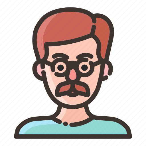 avatar, face, male, man, mustache, people, scientist icon