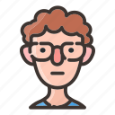 avatar, boy, face, glasses, male, man, nerd icon