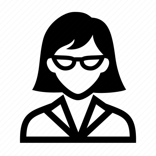 businesswoman, face, female, glasses, neat, portrait, professional, short hair, suit, woman icon