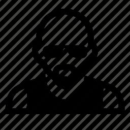 bald, face, glasses, male, man, mustache, portrait icon