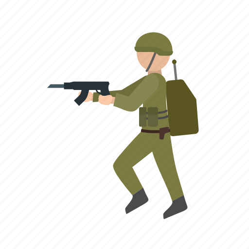 armed, army, forces, military, rifle, soldier, war icon