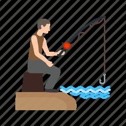 caught, fish, fisherman, fishing, freshwater, hook icon