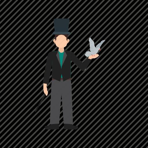 bird, dove, hand, magician, man, pigeon, white icon