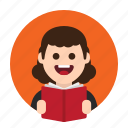 book, education, knowledge, learning, reader, student, study icon
