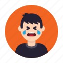 avatar, crying, emotion, man, sad, sadness, tears icon