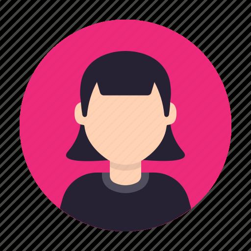avatar, emoticon, face, girl, head, smiley, woman icon