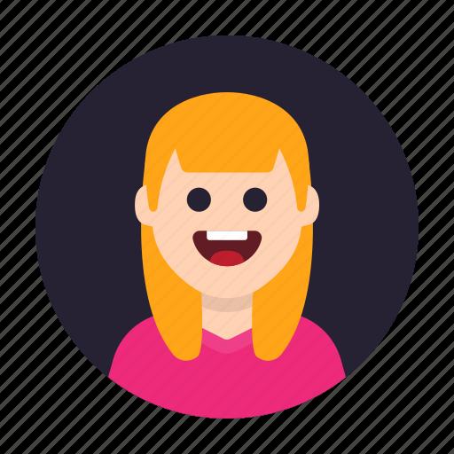 adult, avatar, blond, female, girl, lady, woman icon
