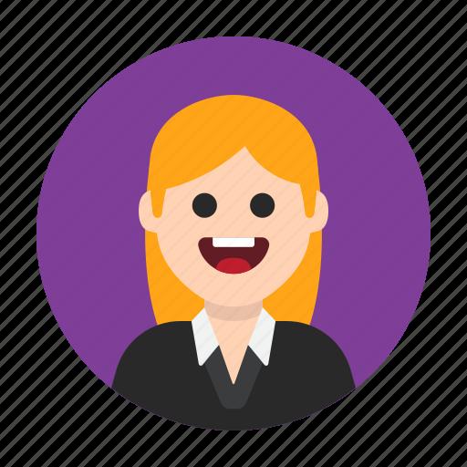 avatar, blond, female, girl, happy, lady, woman icon