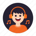 avatar, happy, headphone, hobby, listen, music, song