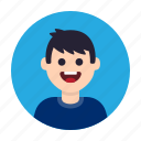 avatar, boy, happy, kid, man, people, smile icon