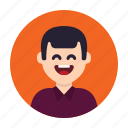 adult, avatar, happy, laugh, man, person, smile icon