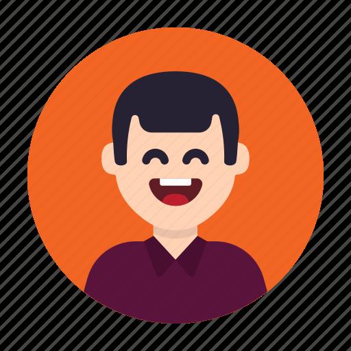adult, avatar, happy, laugh, man, person, smile icon