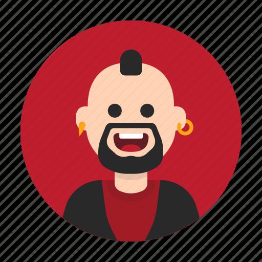 Anarchist, avatar, happy, man, mohawk, punk, rebel icon - Download on Iconfinder