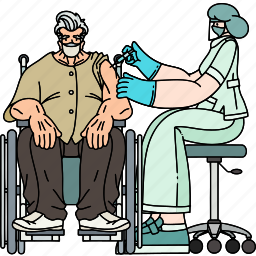 elderly, man, sitting, wheelchair, vaccinated, people, person