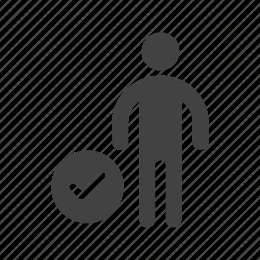 check, person, profile, sign, social, user, verify icon
