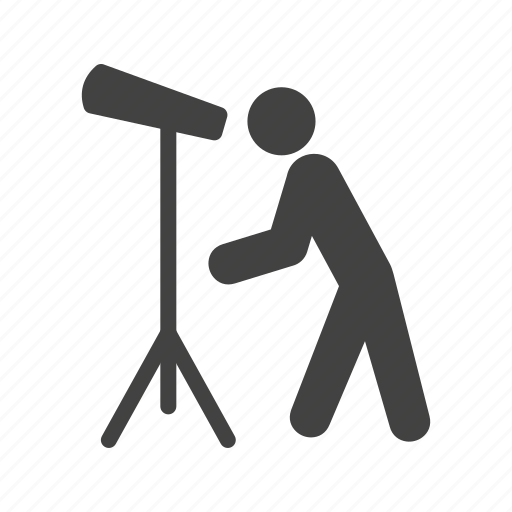 looking, man, moon, sky, telescope, view icon