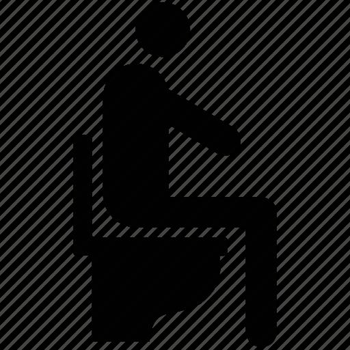 man in toilet, man on toilet seat, man sitting on toilet, man using toilet, toilet user icon
