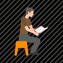 book, education, man, novel, reading, storybook, students icon