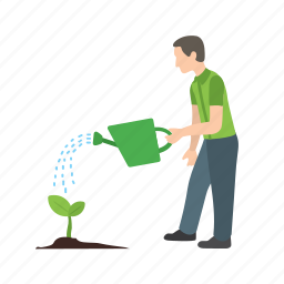 can, garden, man, plants, spring, tree, watering icon
