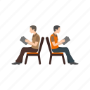 group, sitting, people, bench, queue, waiting, chair icon