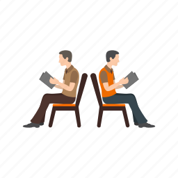 bench, chair, group, people, queue, sitting, waiting icon