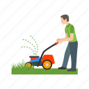lawn, mowing, lawnmower, work, people, cutting, grass icon