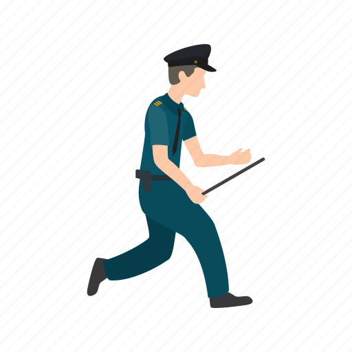cop, crime, officer, police, running, safety, security icon