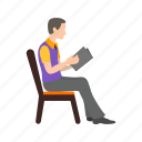 book, education, man, novel, reading, storybook, students icon